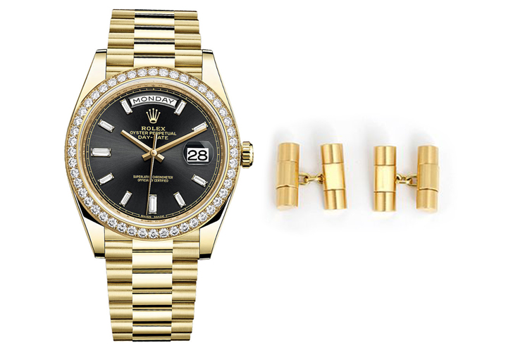 ROLEX DAY-DATE REF 228348RBR WITH BAGUETTE DIAMOND MARKERS ON BLACK DIAL & VINTAGE ROLEX GOLD PRESIDENT LINK CUFFLINKS