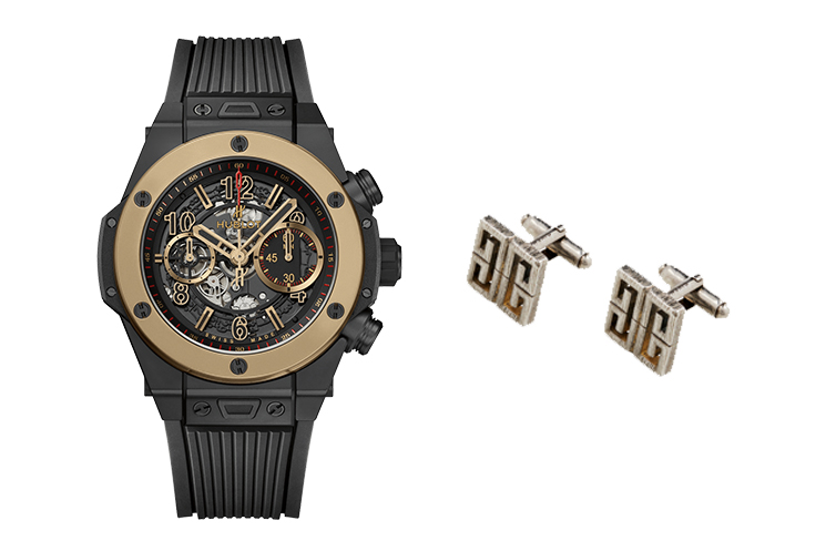 HUBLOT BIG BANG UNICO IN MAGIC GOLD AND CERAMIC (SCRATCH-PROOF 18K GOLD) & GIVENCHY 4G BRASS CUFFLINKS