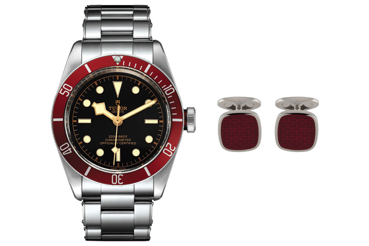 TUDOR HERITAGE BLACK BAY WITH BLACK DIAL AND RED BEZEL & SALVATORE FERRAGAMO GANCINI RESIN CUFFLINKS