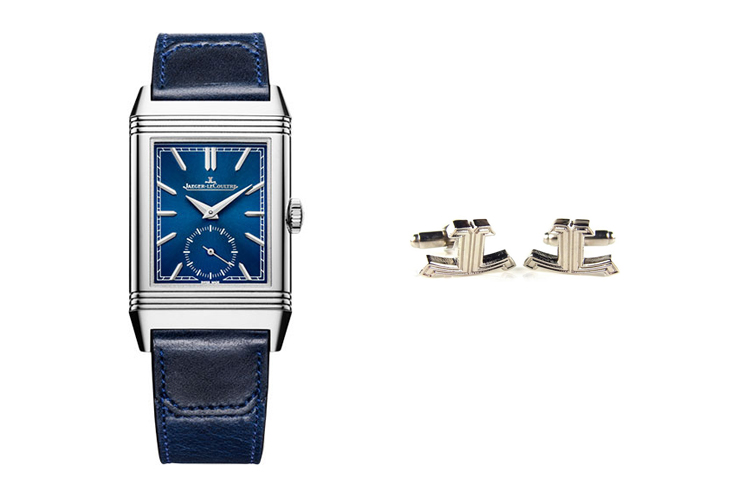 JAEGER-LECOULTRE REVERSO TRIBUTE SMALL SECONDS & JAEGER-LECOULTRE LOGO CUFFLINKS