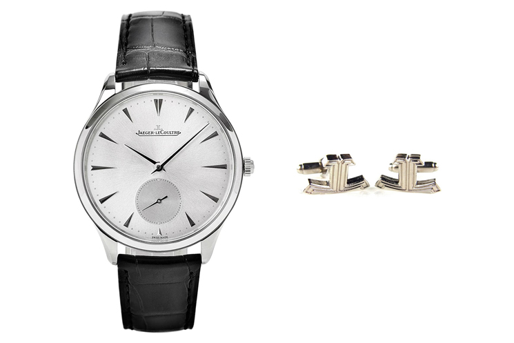 JAEGER LECOULTRE MASTER ULTRA THIN & JAEGER-LECOULTRE LOGO CUFFLINKS