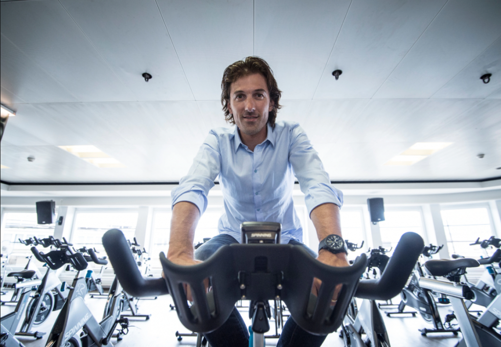 Fabian Cancellara indoor spinning with his IWC watch