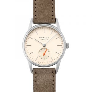 Nomos Glashütte Orion 33 Champagne Silver/Leather 32.8mm