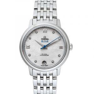 De Ville Prestige Co-Axial 32.7mm Orbis Automatic White Dial Diamonds Ladies Watch