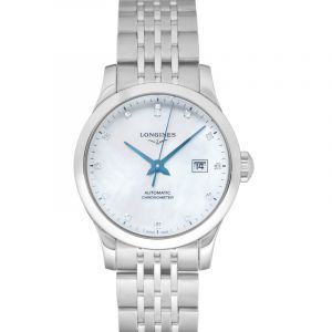Record Automatic White Mother of Pearl Dial Diamond Ladies Watch