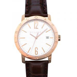 BVLGARI White Dial 18K Pink Gold Men's Watch/40mm