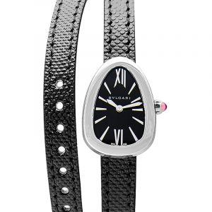 Bvlgari Serpenti Black Dial Ladies Double Wrap Leather Watch 102782