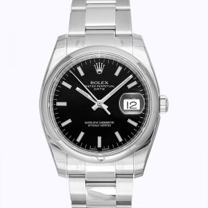 Rolex Oyster Perpetual Date 34 Black Dial Stainless Steel Bracelet Automatic Men's Watch 115200BKSO