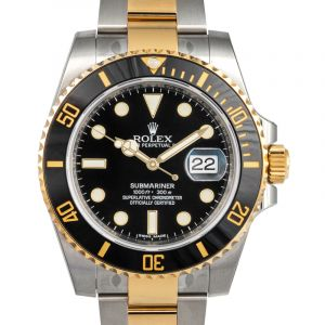 Rolex Submariner Black Dial Stainless Steel and 18K Yellow Gold Oyster Bracelet Automatic Men's Watch 116613BKSO