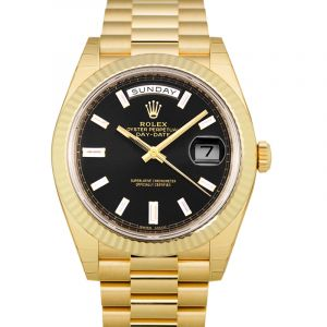 Day-Date Black 18K Yellow Gold Automatic Black Dial Diamond Indexes Men's Watch