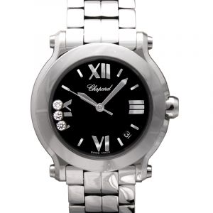 Happy Sport Quartz Black Dial Diamonds Unisex Watch