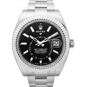 Sky Dweller Black Dial 18K White Gold Oyster Bracelet Automatic Men's Watch 326939BKAO