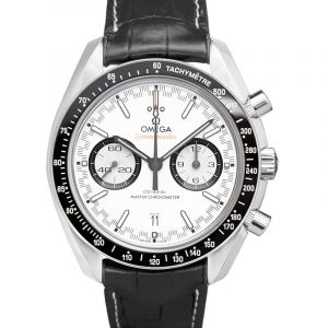 Speedmaster Racing Master Co-Axial Stainless Steel / White / Alligator