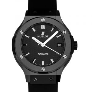 HUBLOT Classic Fusion Automatic Black Carbon Fiber Dial Black Rubber Midsize Watch 38mm