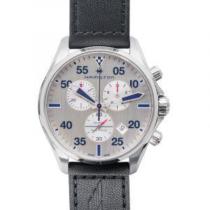Khaki Pilot Silver Dial Black Leather Men's Watch