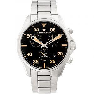 Khaki Aviation Quartz Black Dial Stainless Steel Men's Watch