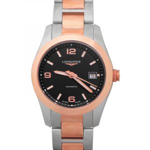 LONGINES Conquest Classic Black Dial Stainless Steel and 18kt Rose Gold Ladies Watch//30mm