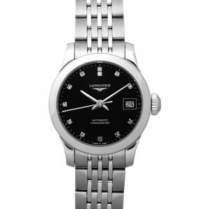 Record Automatic Black Dial Diamond Ladies Watch