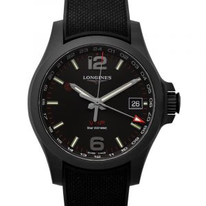 Conquest VHP GMT Quartz Black Dial Men's Watch