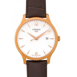 Tissot Men's Tradition Quartz Leather Watch (Rose Gold) 42mm