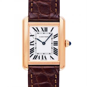 Tank Solo Silver Dial Brown Leather Strap Ladies Watch