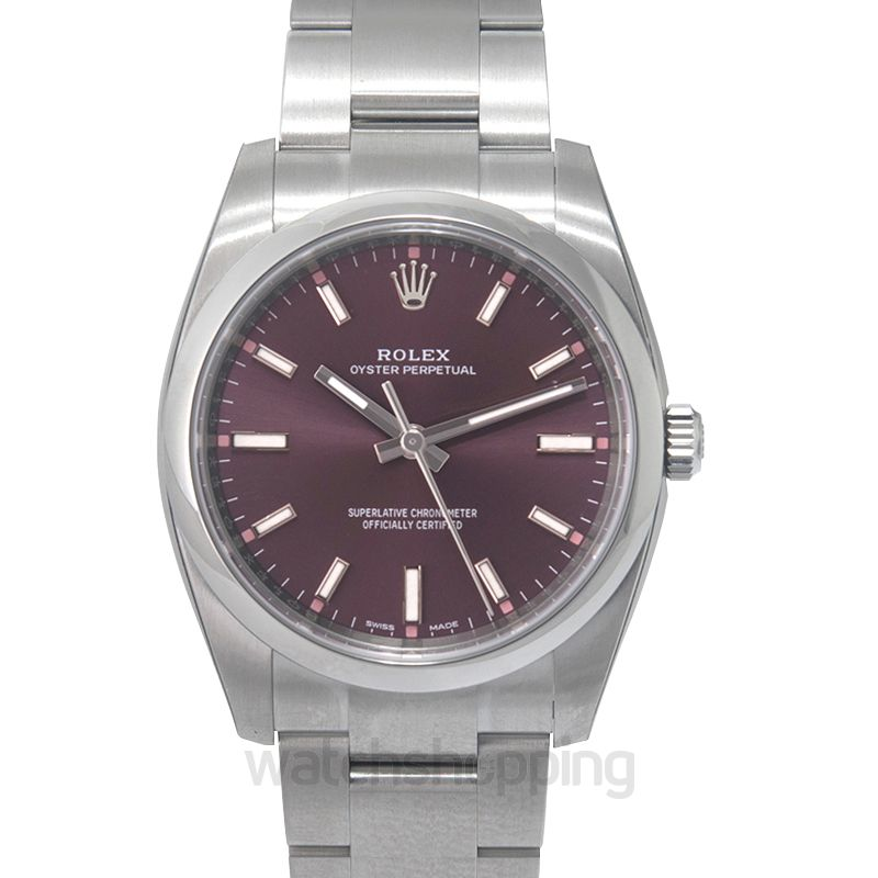 Rolex Rolex Oyster Perpetual 34 Purple Grape Dial Stainless Steel Bracelet Automatic Unisex Watch 114200RGSO