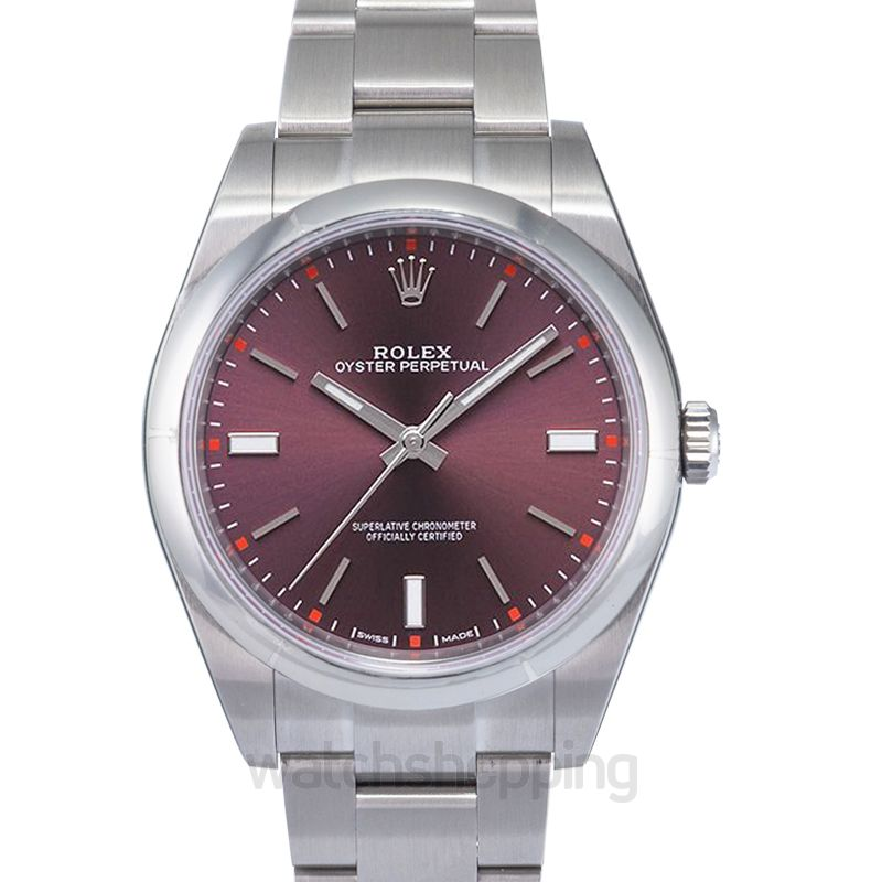Rolex Oyster Perpetual Automatic Purple Dial Men's Watch