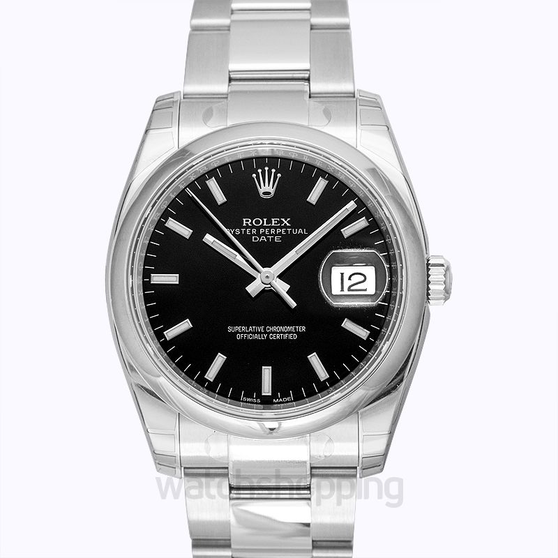 Rolex Rolex Oyster Perpetual Date 34 Black Dial Stainless Steel Bracelet Automatic Men's Watch 115200BKSO