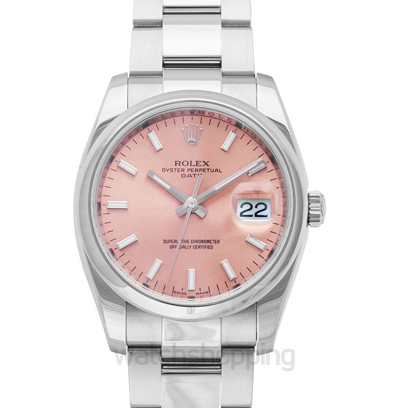 Rolex Oyster Perpetual Date 34 Stainless Steel Domed / Oyster / Pink