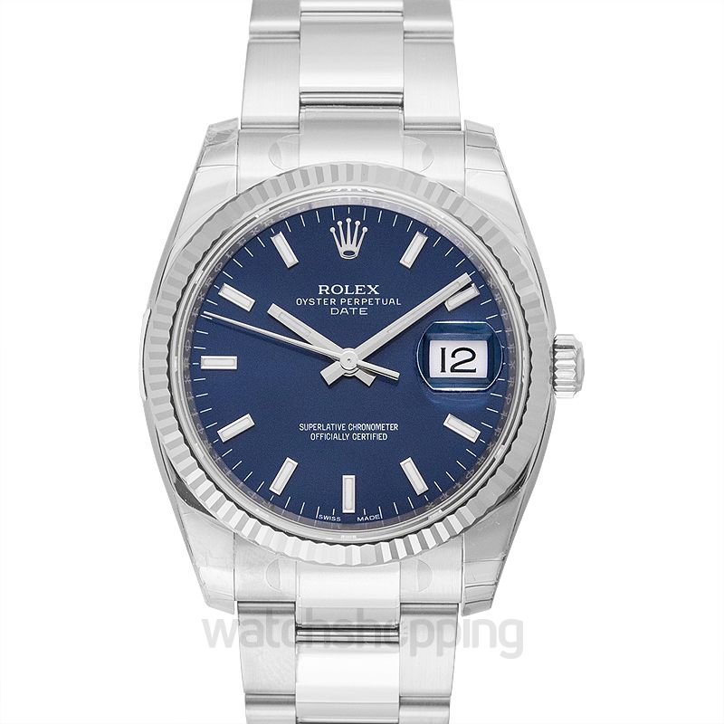 Rolex Oyster Perpetual Date 34 Stainless Steel Fluted / Oyster / Blue