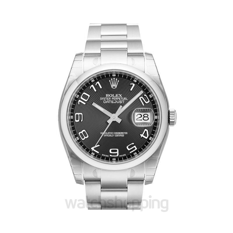Rolex Datejust 36 Stainless Steel Domed / Oyster / Black Arabic