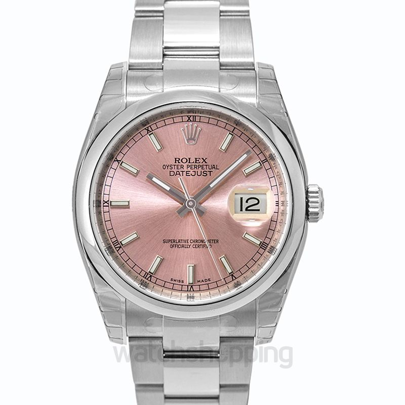 Rolex Datejust 36 Stainless Steel Domed / Oyster / Pink