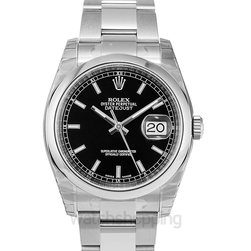 Rolex Datejust 36 Stainless Steel Domed / Oyster / Black