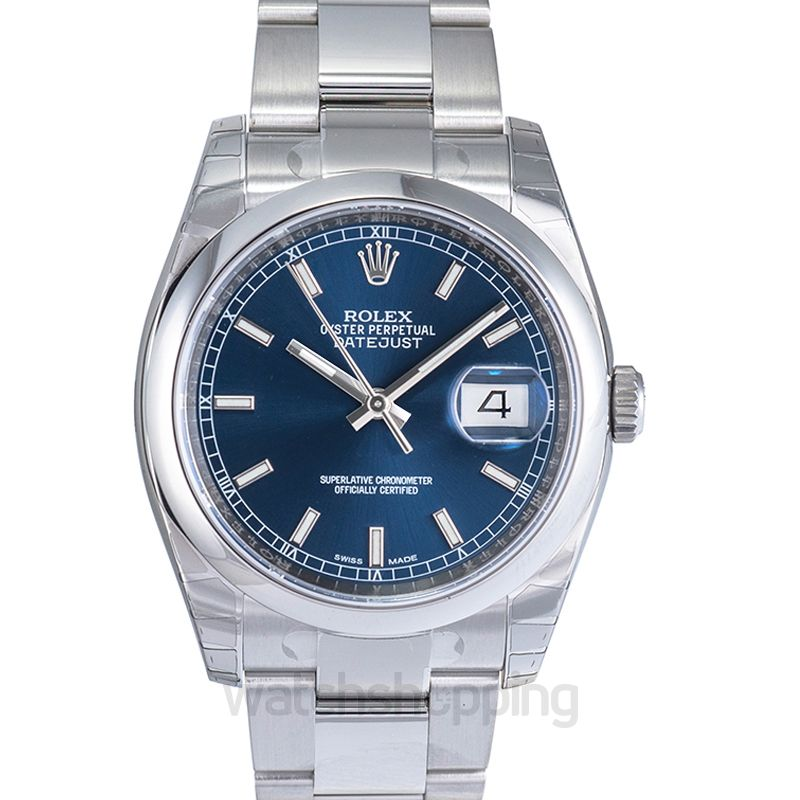 Rolex Datejust 36 Stainless Steel Domed / Oyster / Blue