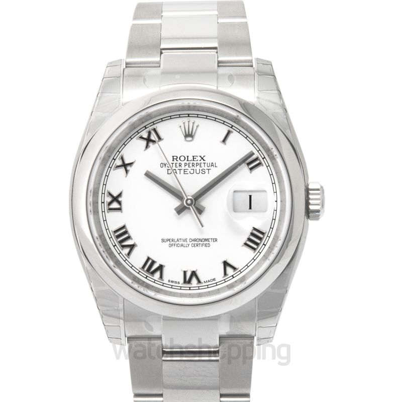 Rolex Datejust 36 Stainless Steel Domed / Oyster / White Roman