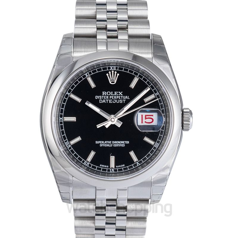 Rolex Datejust 36 Stainless Steel Domed / Jubilee / Black