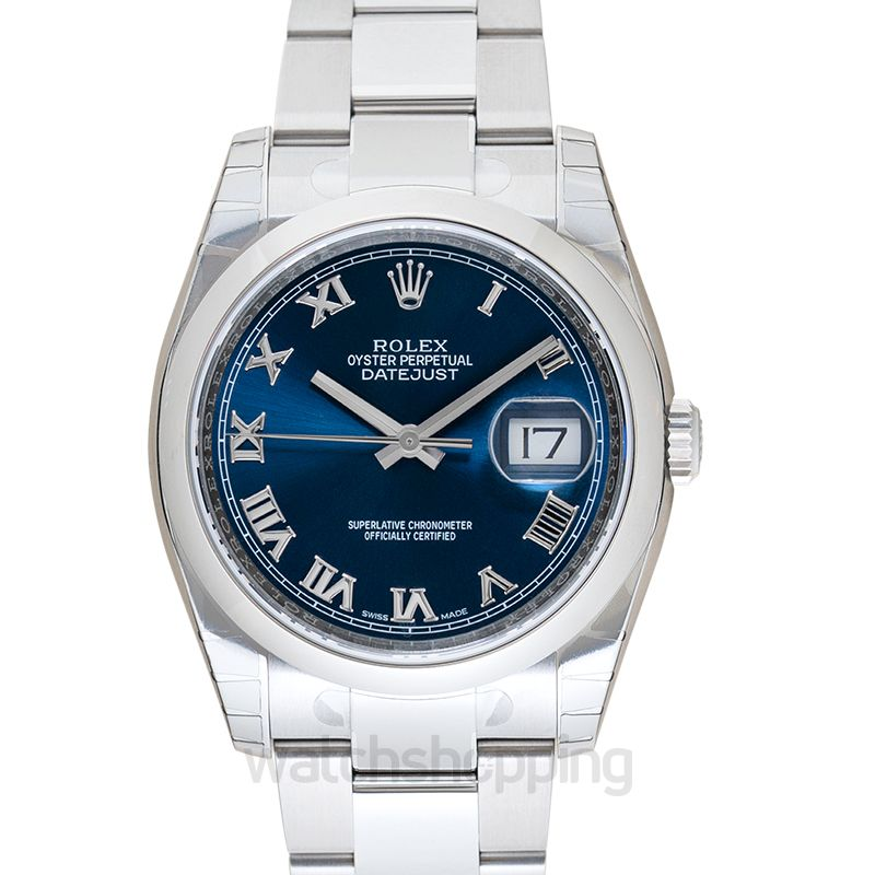 Rolex Datejust 36 Stainless Steel Domed / Oyster / Blue Roman