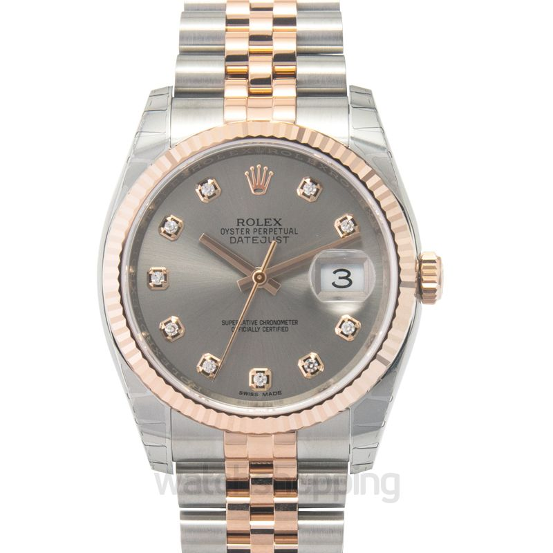 Rolex Datejust 36 Rolesor Everose Fluted / Jubilee / Steel Diamonds