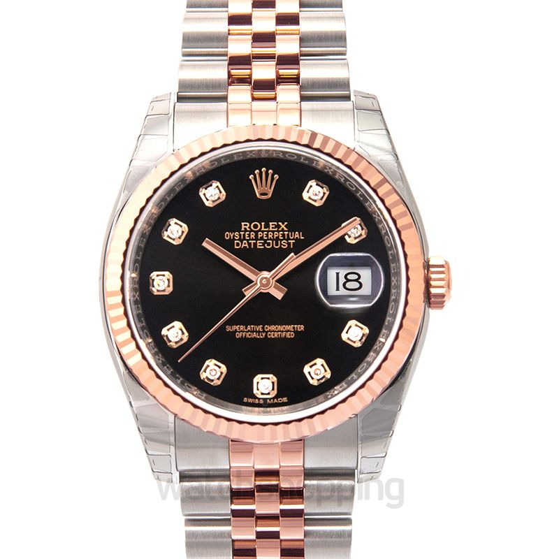 Rolex Datejust 36 Rolesor Everose Fluted / Jubilee / Black Diamonds