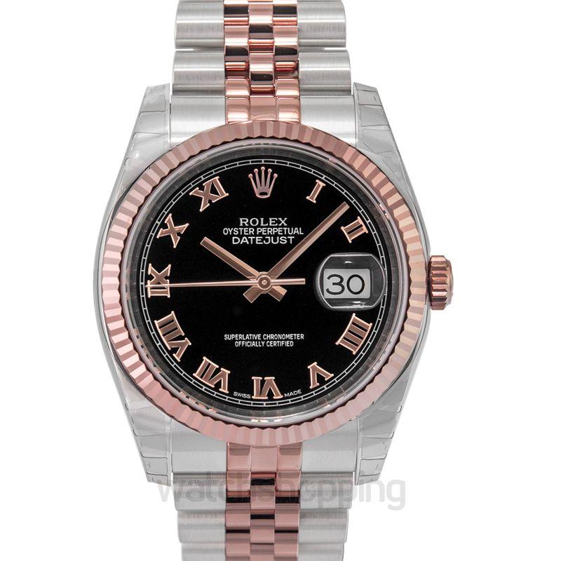 Rolex Datejust 36 Rolesor Everose Fluted / Jubilee / Black Roman