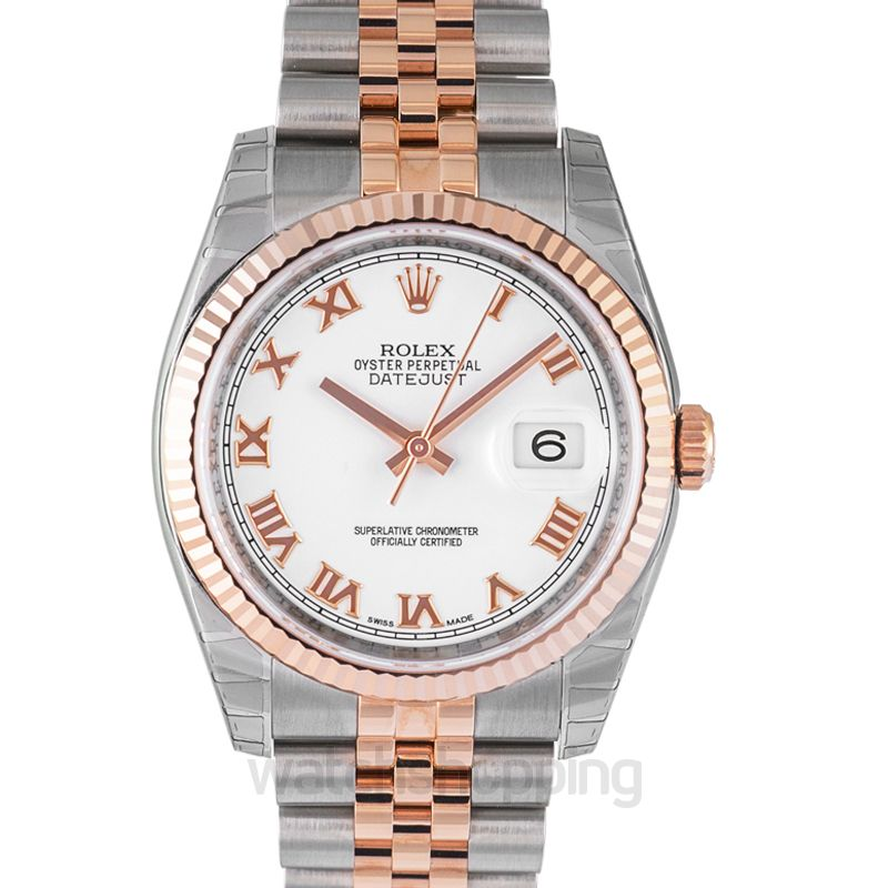 Rolex Datejust 36 Rolesor Everose Fluted / Jubilee / White Roman
