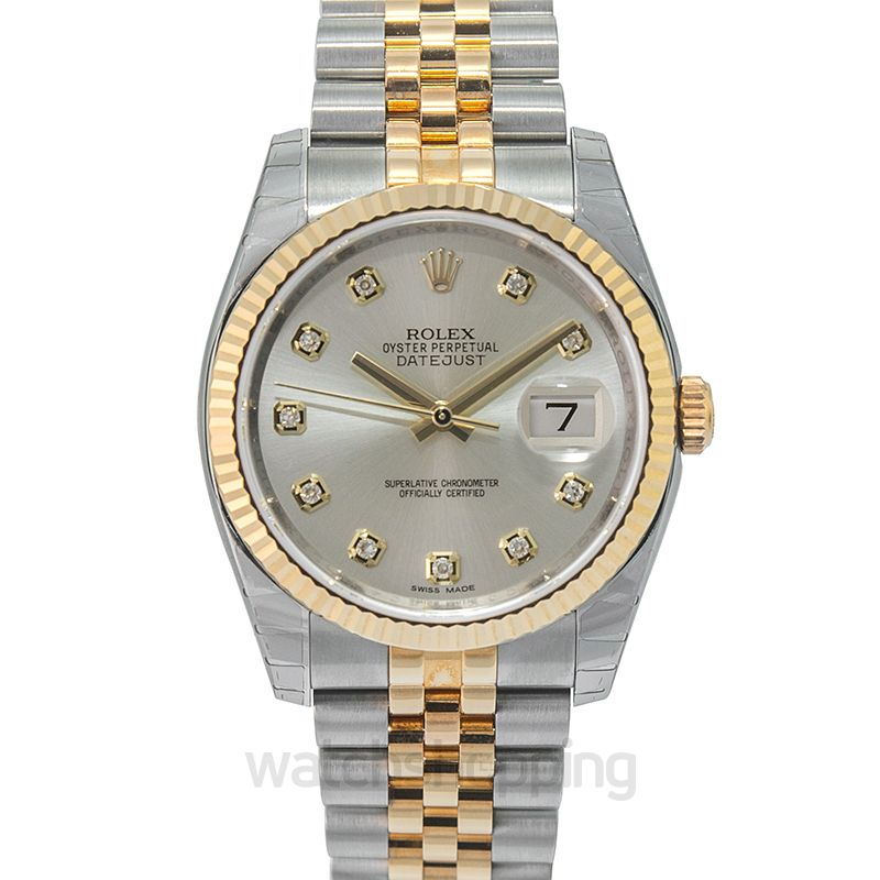 Rolex Datejust 36 Rolesor Yellow Fluted / Jubilee / Silver Diamonds