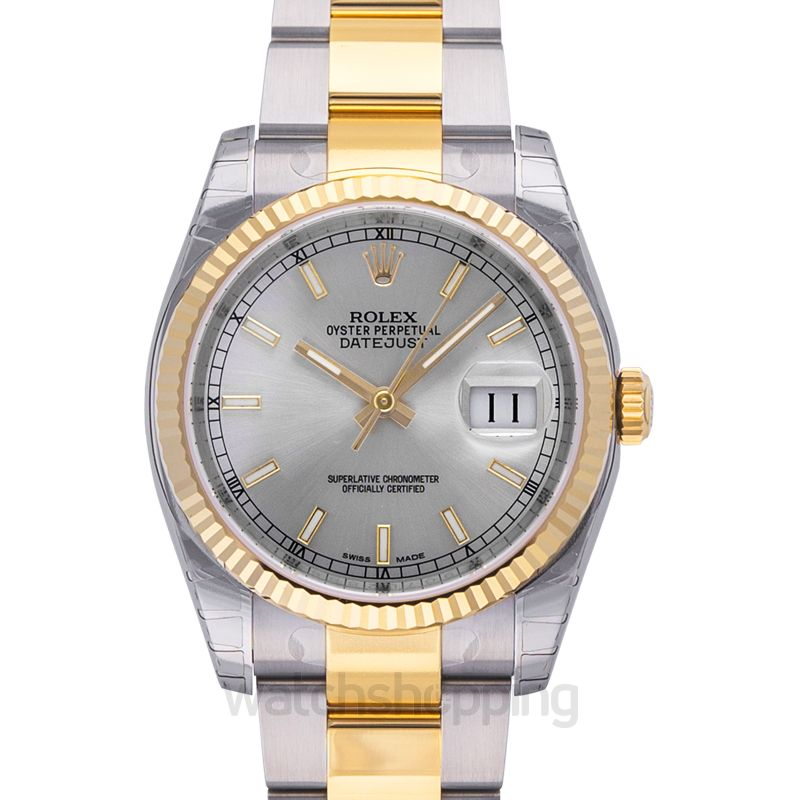 Rolex Datejust 36 Rolesor Yellow Fluted / Oyster / Silver