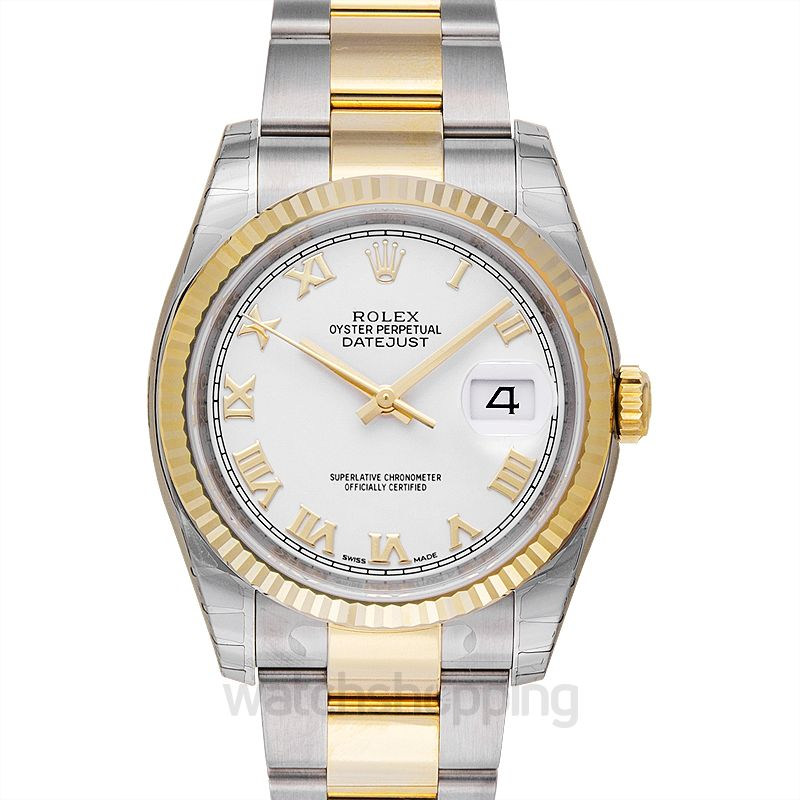 Rolex Datejust 36 Rolesor Yellow Fluted / Oyster / White Roman