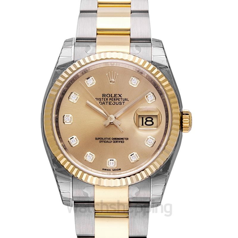 Rolex Datejust 36 Rolesor Yellow Fluted / Oyster / Champagne Diamonds