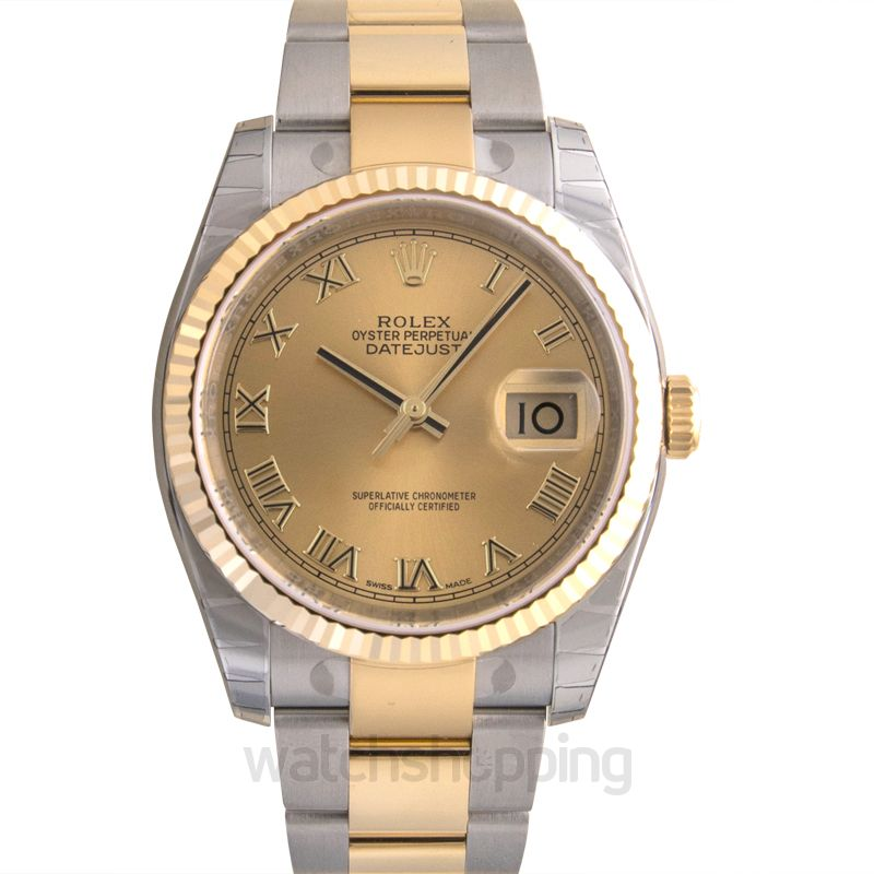 Rolex Datejust 36 Rolesor Yellow Fluted / Oyster / Champagne Roman
