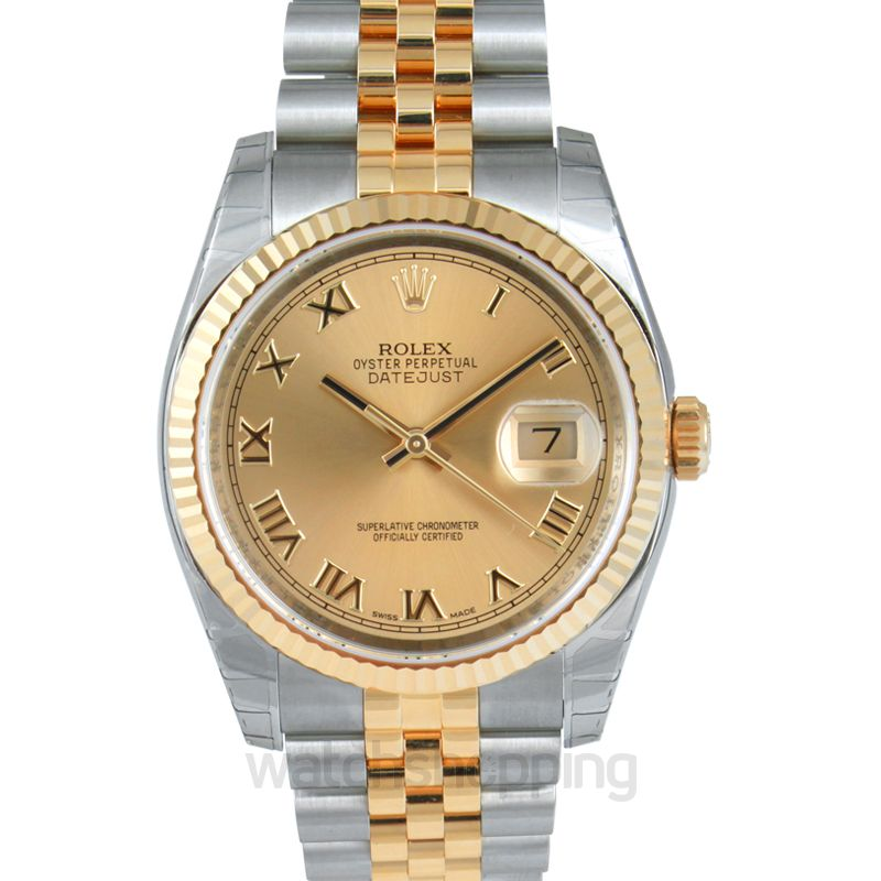 Rolex Datejust 36 Rolesor Yellow Fluted / Jubilee / Champagne Roman