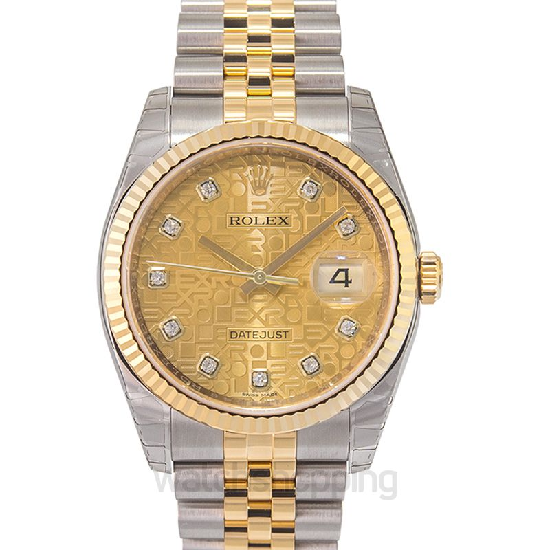 Rolex Rolex Oyster Perpetual Datejust 36 Champagne Dial Stainless Steel and 18K Yellow Gold Jubilee Bracelet Automatic Men's Watch 116233CJDJ