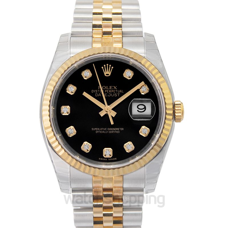Rolex Datejust 36 Rolesor Yellow Fluted / Jubilee / Black Diamond