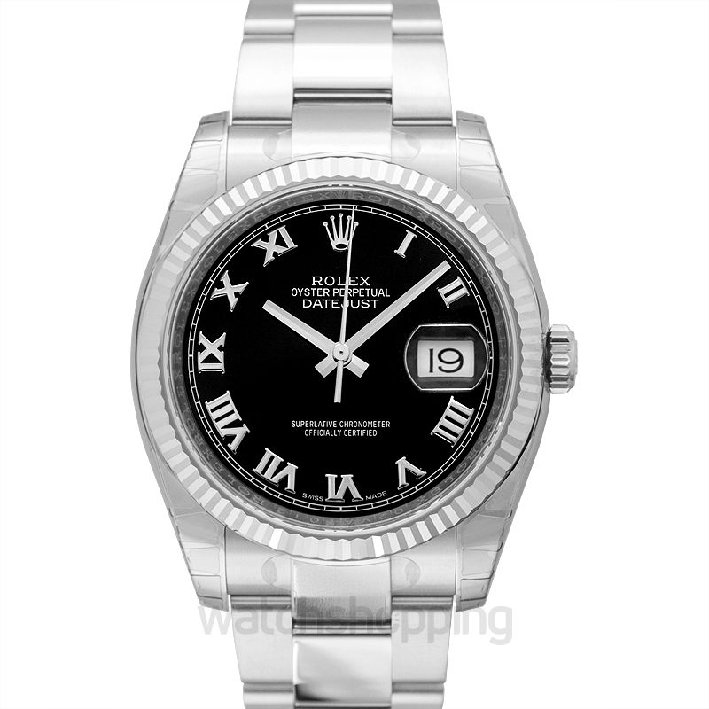 Rolex Datejust 36 Stainless Steel Fluted / Oyster / Black Roman